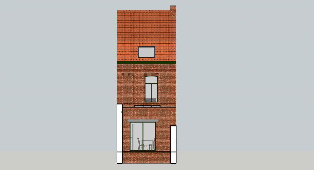 Maquette vue façade cour