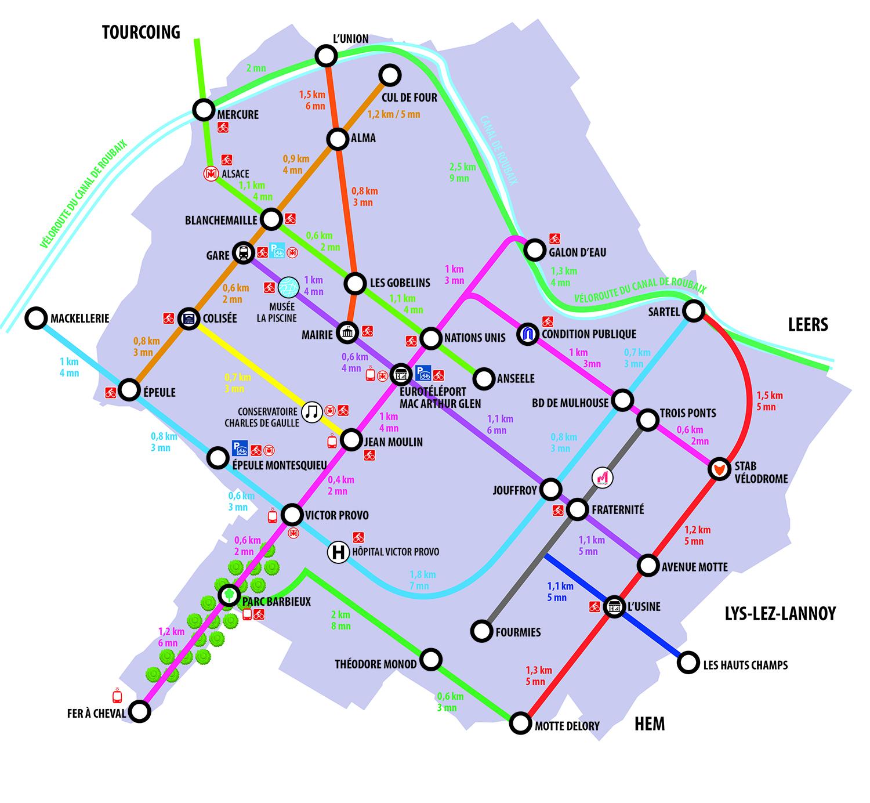 Carte des pistes cyclables à Roubaix