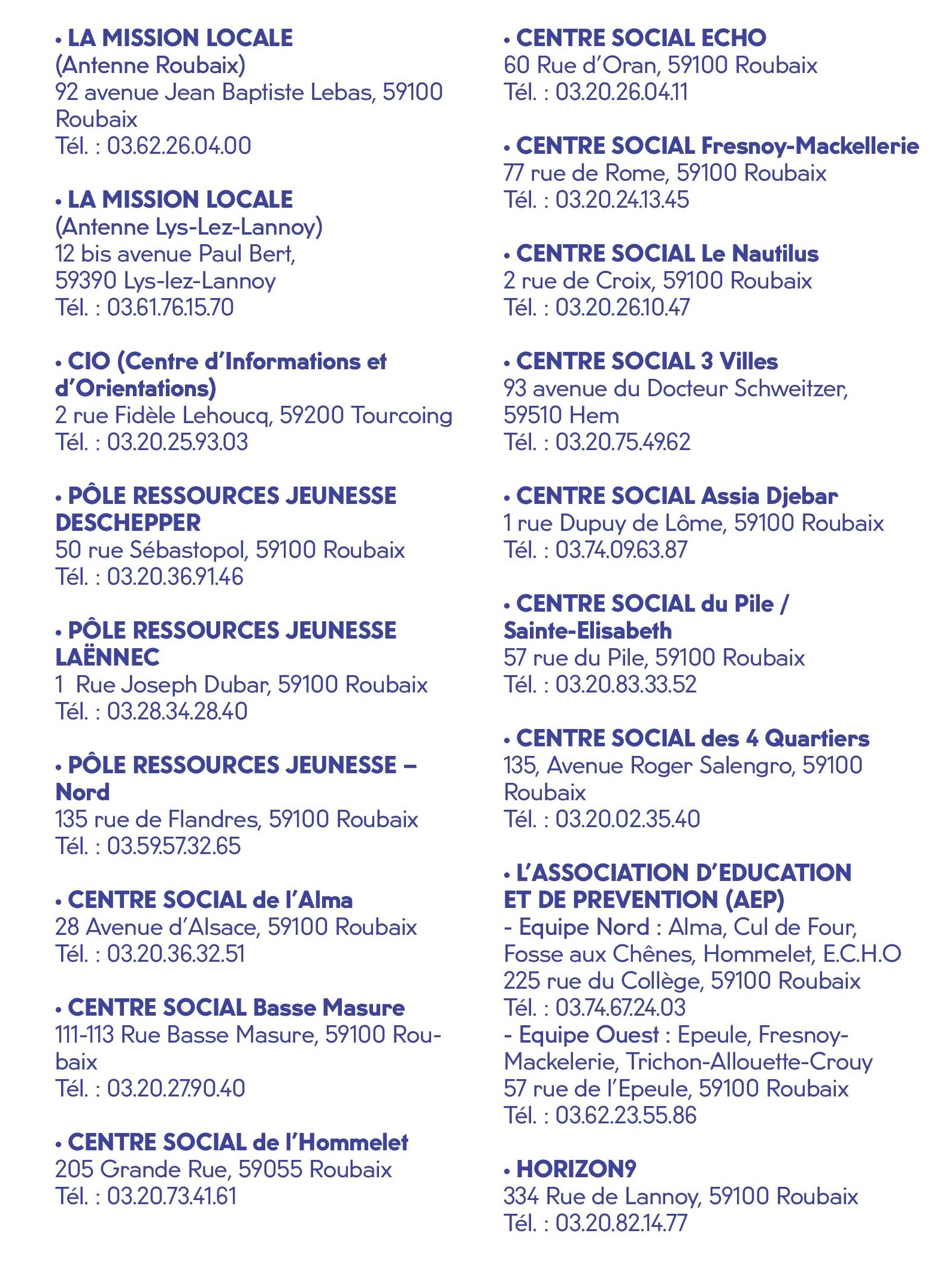 Contacts Solutions 16-18 ans