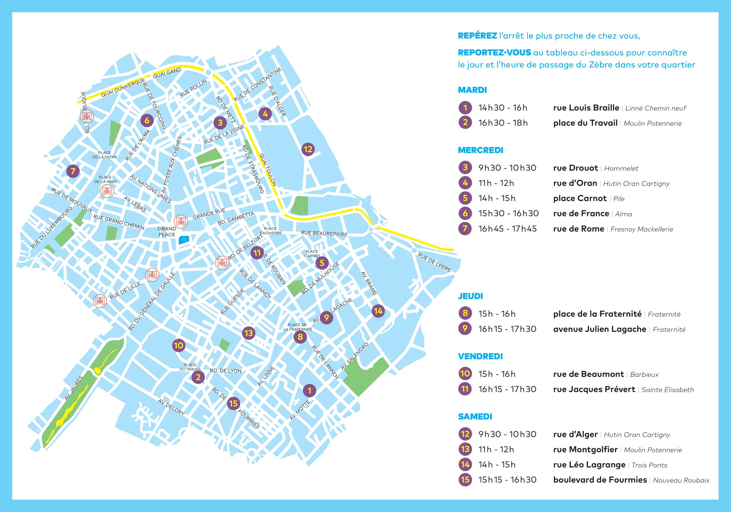 Carte des emplacements du bibliobus Roubaix